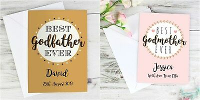 Personalised Thank You Godmother Card Godfather Godparents