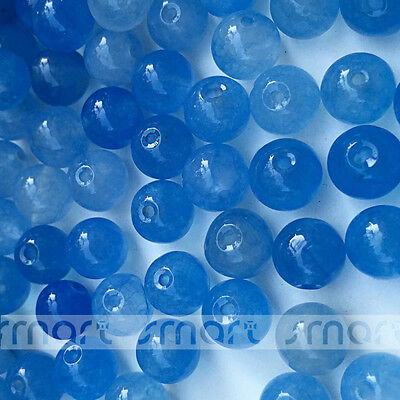 50/200pcs Solid Blue Dyed Natural Jade Gemstone Round Loose Beads 8mm