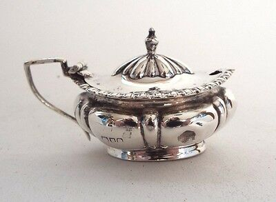 Mustard Pot Melon Design Georgian Classic Revival Solid Sterling Silver 1909