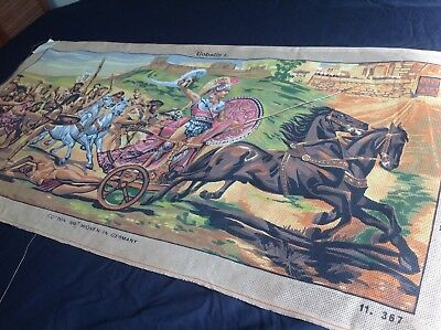 VINTAGE Unworked GOBELIN TAPESTRY CANVAS Germany/Greece ROMAN CHARIOT Spartan