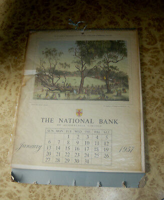 VINTAGE 1957 National Bank of Australia 1886 Melbourne Historical Print Calendar