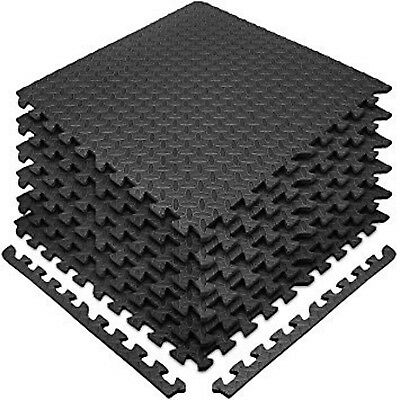 Black-Mats Interlocking Soft Foam For Home Garden Caravan Garage Workshop Mat