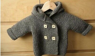 Baby Toddler Jumper hoodie hat Knitting pattern in chunky