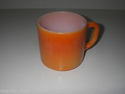 Federal Glass Mug Orange Fired-on Stackable Vintage Retro Coffee Cup Made USA.