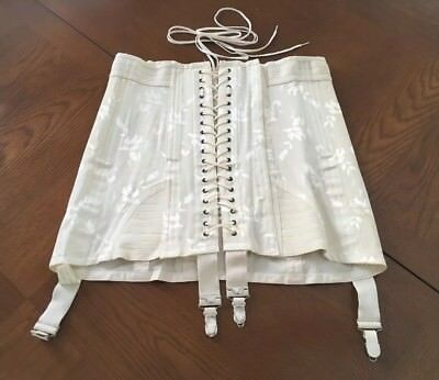 1940s Vintage CORSET by RENGO Open Bottom THE CROWN CORSET CO. w / GARTERS sz 30