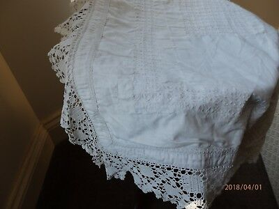 Antique lace pillow case Very old hand stitching