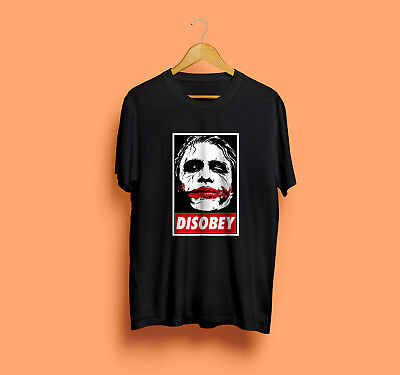 e7189882 Joker Heath Ledger Tribute T-Shirt Disobey Dope Dark Knight Film New Men's  Tee