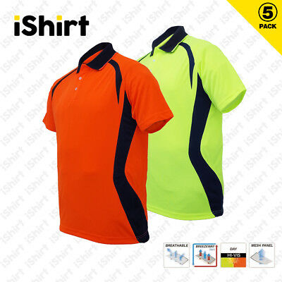 5X Hi Vis Polo Shirt Cooldry Breathable Contrast Panel Tradies Safety Workwear