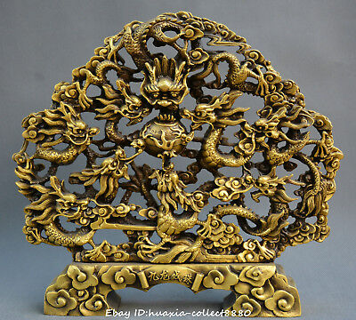 China FengShui old bronze Nine dragon play beads auspicious wealth beast statue