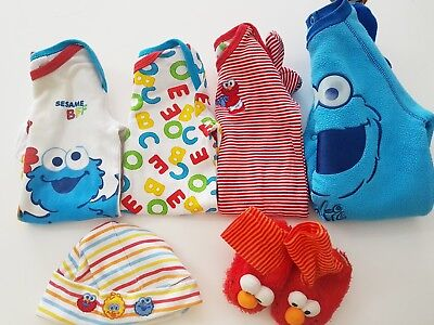 Size 000 Baby Boys Sesame Street Elmo Cookie Monster Winter Bundle