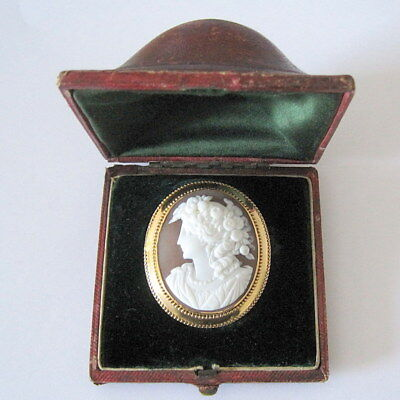 *Rare* VICTORIAN ANTIQUE 9ct GOLD CARVED SHELL CAMEO BROOCH with ORIGINAL CASE