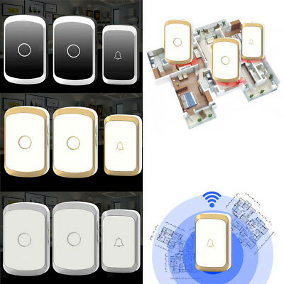 Wireless Battery Operated Doorbell Door Chime with 1 Transmitter and 2 Receivers