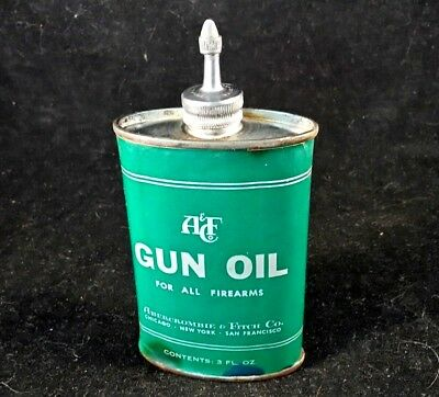 Vintage Abercrombie & Fitch Lead Top Gun Oil 3 oz Old Rare Advertising Tin Can
