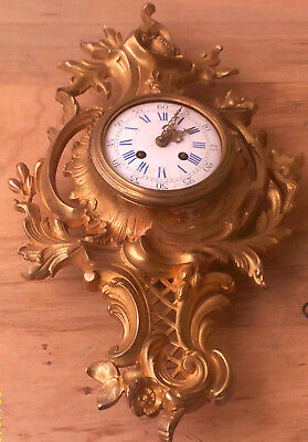Spectacular   Louis Xv ,19  French  Solid Gilded Bronze'' Cartel'' Wall Clock