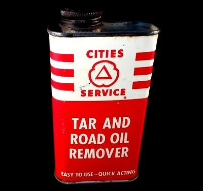 Vintage Cities Service Tar Road Oil Remover Handy Oil 8 oz Advertising Tin Can