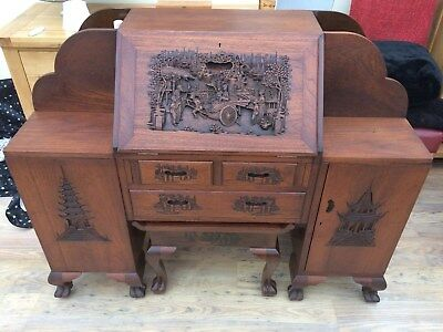 Oriental Style Bureau with matching Stool