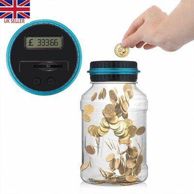 Large Digital LCD Money Box Pound Coin Counter Saving Jar Piggy Bank Coins Gift