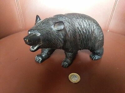 19th century carved wood black forest bear, superb example and detail