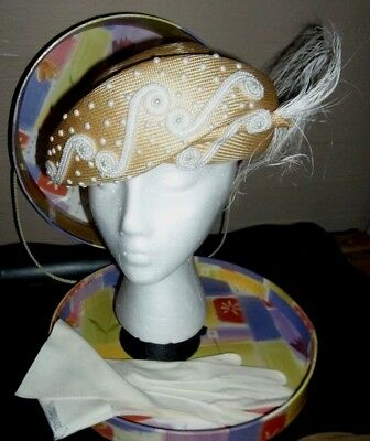 Mr John Classic Woven beaded and feathered hat with cotton gloves / Vintage