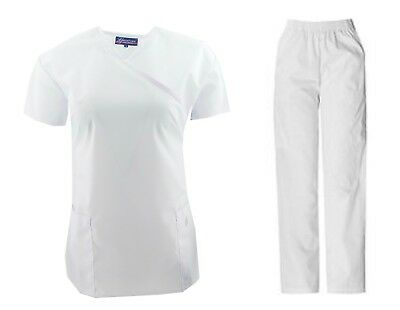 Medical Nursing Women Solid Scrub Set Top & Pants with Tie Back XS-2XL