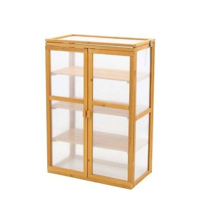 Cypress Mini Greenhouse 3 Shelves Double Front Doors 1 Ft.4 In.X 2 Ft .6 In. New