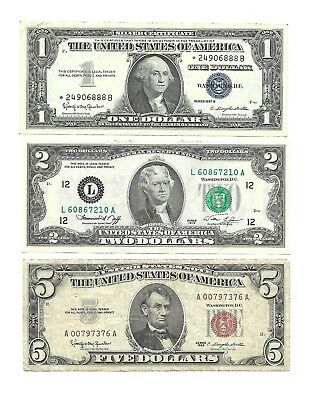 Set of 3 old U.S. banknotes  $1.00 (1957) ,  $2.00 (1976)  &  $5.00 (1963)