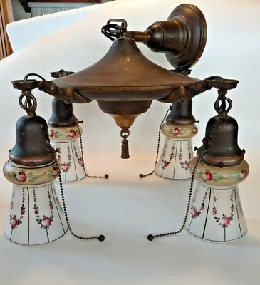4 Light Pan Fixture Chandelier  Ready to Hang Beautiful! Brass & hand painted
