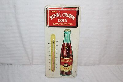 Vintage 1950's RC Royal Crown Cola Soda Pop Embossed Metal Thermometer Sign