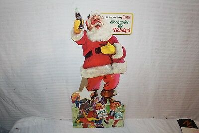 "Vintage 1950's Coca Cola Christmas Santa Claus Soda Pop Gas Oil 30"" Sign"
