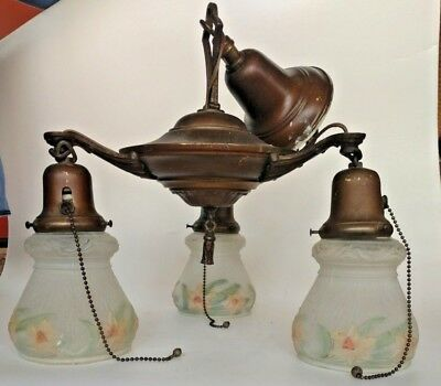 3 Light Pan Fixture Chandelier  Ready to Hang Nice Brass & hand painted