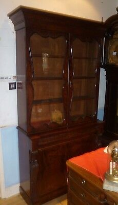 Large Victorian Mahogany Two Section Bookcase