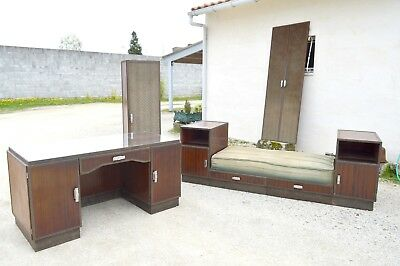 Exceptionnel Ensemble Bureau Art Deco Fer Forge Piece Unique Banquette Portes
