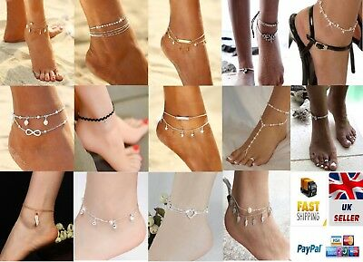 Fashion Ankle Bracelet Women 925 Silver/Gold Anklet Foot Jewelry Chain Beach