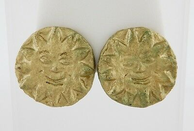Vintage Large Gold Sun 1990 Mithras Ball New Orleans Mardi Gras Clip On Earrings