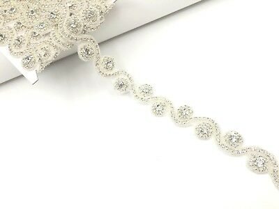 1 Yard Diamante Rhinestones Bridal Wedding Trim Dress Sash Belt Reduce to Clear