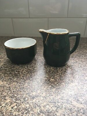 TWO GREEN And Gold Side Plates (Like Apilco) - £9.99   PicClick UK