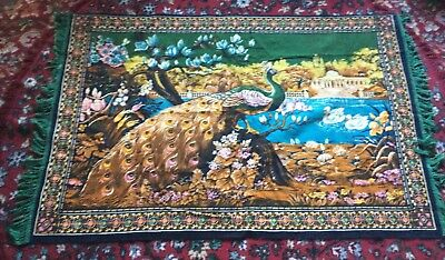 Vintage Peacock  Velvet Rug Wall Hanging Tapestry Chair Back 63ins  X 38ins