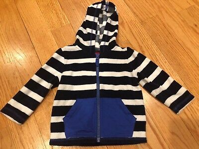 Hanna Andersson HOODED NAVY STRIPE TERRY ZIP COVER UP Sz 85 (Toddler 2)
