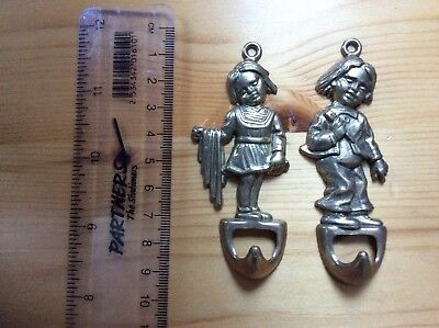 Pair Of Rare Vintage Brass  Novelty Boy and Girl Bathroom Hooks. Made in Italy.