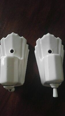 Pair of Vintage Art Deco White Porcelain Wall Sconce Light Fixtures with outlet