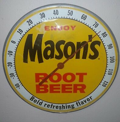 Vintage c.60 MASON'S ROOT BEER advertising thermometer sign soda oil gas station