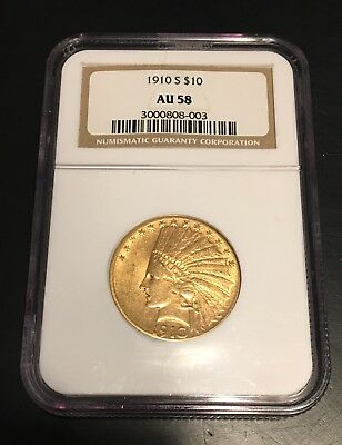 1910-S $10 Gold Indian. NGC Au58 Better Date.