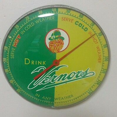 Vintage c.60 VERNOR'S GINGER ALE advertising thermometer sign soda gas station