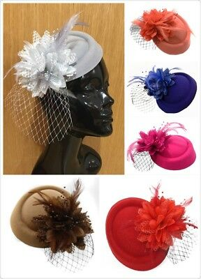 Fascinator Hat Pillbox Flower Veil Hatinator UK Wedding Ascot Races Clip Felt