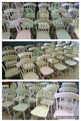 Farmhouse Kitchen Dining Vintage Shabby Chic Painted Chairs in Pastel Colour