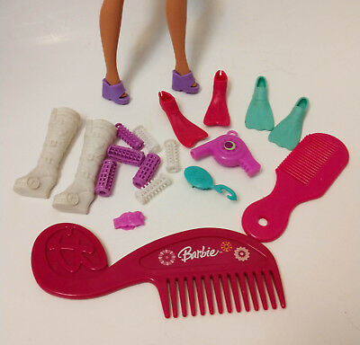 Mattel Barbie doll accessories Boots Flippers Fins Curlers Hair dryer