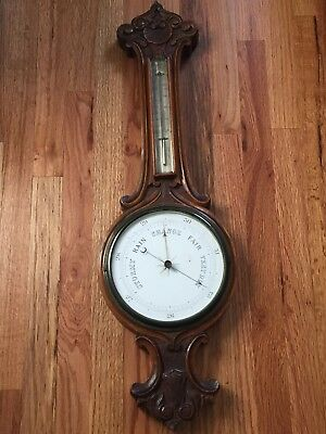Large Antique Wood Carved Barometer Thermometer