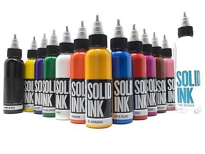 Solid Ink Professional Tattoo 12 Color 1 Ounce Set All Natural Ingredients