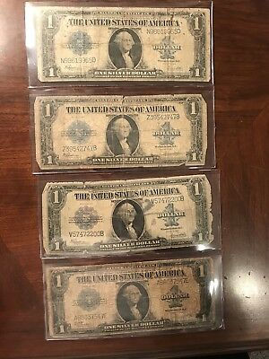 """Lot Of (4) 1923 $1 Dollar Silver Certificates """"horse Blanket"""" Circulated .99 St"""