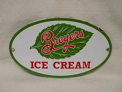 """Breyers Ice Cream 10"""" Porcelain Oval Advertising Dairy Sign"""